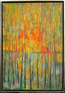 Janiely: Schnitt einer Baumspiegelung Öl auf Leinwand 2008