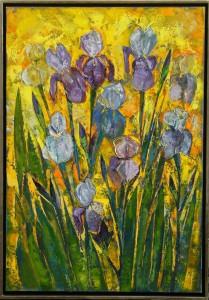 """""""Schwertlilien"""", Öl auf Leinwand mit Weißgoldrahmen 105x75 cm"""