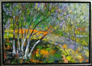 """""""Waldlandschaft"""" 76x106 cm. Öl auf Leinwand mit Weißgoldrahmen 110x110 cm"""