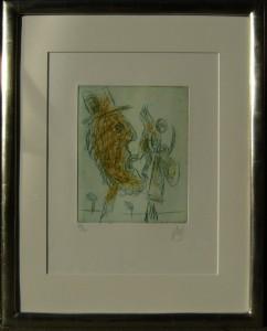 """""""Carambolage"""", Originalradierung mit Blattgoldrahmen 53x40 cm"""