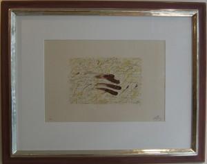 """""""Lithografie in Gelb, Grau und Rot"""" von 1971, Originallithografie mit Weißgoldrahmen 82 x 102 cm"""